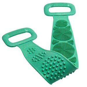 Douche Silicone Rondelle, Serviette de Nettoyage en Silicone Double Face Portable Pinceau arrière avec Peau de Douche de Nettoyage de ménage Propre (Color : Green)