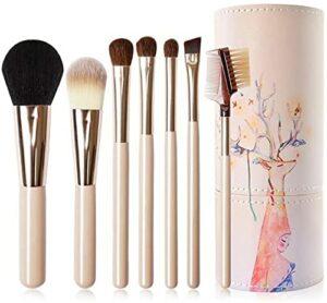 Dpliu 7 pinceaux de maquillage Set Outils de beauté Bucket-Premium Synthetic Maquillage Brosse Set Cosmétiques Fondation Fondation Fondation Fondée Blande Eyeliner Face Poudre Poudre Maquillage YQLWX