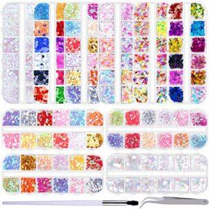 Duufin 10 Boîtes Paillettes d'Ongles Papillon Sirene Paillettes Holographiques Ongles avec Pinceaux pour Ongles et Pince à Épiler pour Décoration des Ongles