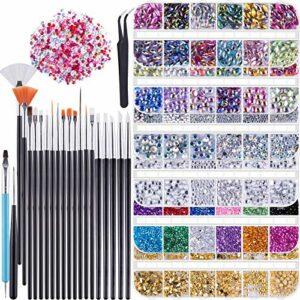 Duufin 6 Boîtes Strass pour Ongles 15 Pièces Pinceaux pour Ongles 1 Pièces Pince à Épiler 5 Pièces Dotting Stylo pour Décoration des Ongles