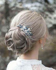Edary Peigne à cheveux argenté avec perles bleues, accessoire de cheveux pour femme et fille