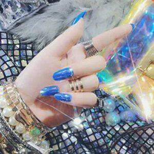 EgBert 24Pcs Shell Lustre Nail Conseils Miroir Hologramme Décoration Métallique Faux Ongles Manucure Colle Salon – 11
