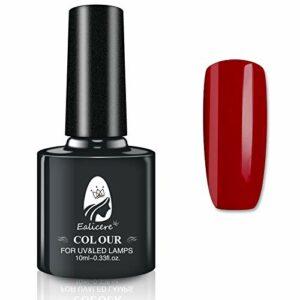 Elicere 10ml Gel de Couleur Vernis à ongles Manucure UV/LED Nail Art Pédicure Gel Nail Polish pour un Usage Professionnel dans le Salon et à la Maison-Nail Art (Vin Rouge)