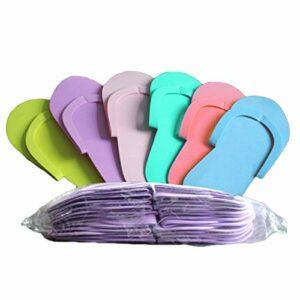 EXCEART Tongs Chaussons en Mousse Pédicure Pantoufles de Spa Séparateurs D'orteils en Mousse Chaussures de Pantoufle pour Le Bain Tongs de Salon de Manucure Couleur Aléatoire