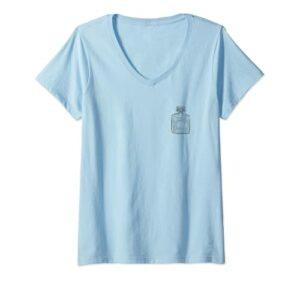 Femme Eau de Parfum Perfume Bottle Illustration beauté flacon mode T-Shirt avec Col en V