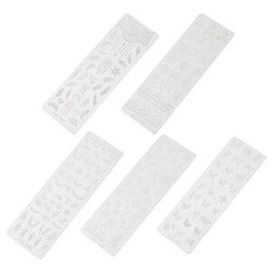 FRCOLOR Ongles Estampage Kit Floral Nail Stamping Plaque Manucure Nail Art Plaque Nail Stamper Manucure Plaque Stamping Modèle pour DIY Nail Art Décoration 5 Pièces