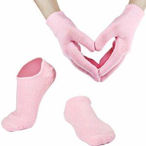 Gants et Chaussettes de Spa Hydratants en Gel de Coton Doux pour Peau Sèche Fissurée pour Femme et Homme (Rose)