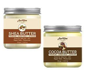 Glamorous Hub Aromine Beurre de Karité & Beurre de Cacao | Brut | Non raffiné | Idéal pour le visage, la peau, le corps et les lèvres (100 g chacun)