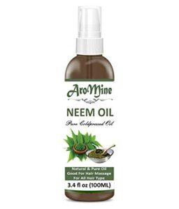 Glamorous Hub Aromine Huile de Neem de qualité cosmétique raffinée, pure et naturelle, non diluée, pressée à froid pour l'aromathérapie, le traitement de la peau et les soins capillaires (100 ml)