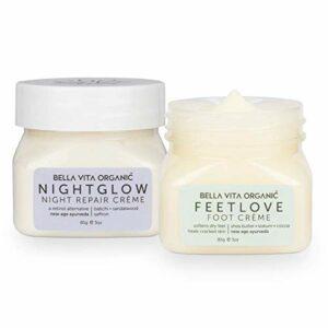 Glamorous Hub Bella Vita Pack de soins de nuit bio pour une peau radieuse | Night Glow Night Repair Creme & Feet Love Foot Care