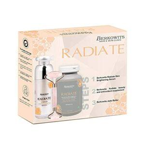 Glamorous Hub Berkowits Radiate Treatment Kit pour une peau éclatante avec Glamorous Hub Berkowits Jade Roller For Face Roller (Pack Combo)