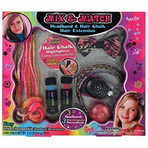 GLoss – Coffret de maquillage pour petite fille – Spécial cheveux incluant 2 craies pour cheveux et 3 serre-tête – Collection Mix & Match