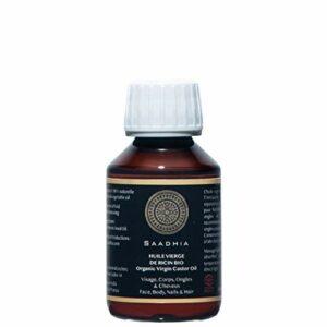 Huile Vierge de Ricin bio 100 ml|Castor oil|Végétale 100% pure & Naturelle |1ere pression à froid| Favorise la pousse Cheveux,Cils,Ongles, Barbe, |Hydrate Cuir Chevelu & Peau|Ricinus communis Seed oil