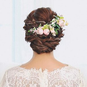 IYOU Mariage Peignes à cheveux Rose Fleur Casque Artificiel Bal de promo plage Accessoires pour cheveux pour Femmes et Filles (2 pièces)
