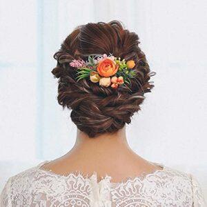 IYOU Peigne à cheveux pour mariage – Orange – Fleur artificielle – Accessoire pour cheveux pour femme et fille