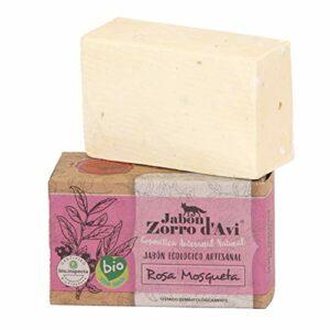 Jabón Zorro D'Avi   Savon naturel écologique à l'églantier   120 gr   Savon anti-vergetures, raffermissant et régénérant   Savon biodégradable   Savon pour le visage et le corps   Fabriqué en Espagne