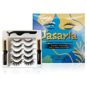 J'asayla 5 Paires de Cils Magnétiques avec Eyeliner Nature Look & 2 Tubes de Kit Eyeliner Magnétique, Waterproof Reusable Upgraded 3D Avec Pince à épiler Sans Colle