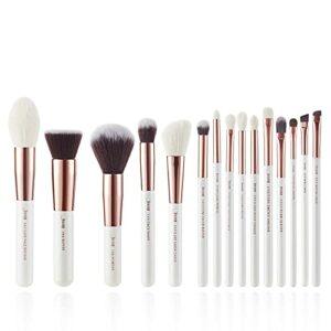 Jessup Lot de 15 pinceaux de maquillage et fond de teint de qualité professionnelle, kit de maquillage pour fond de tient, poudre, lèvres, contours et ombres, couleur perle blanche et rose doré T220