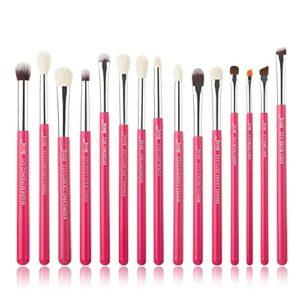 Jessup Lot de 15 pinceaux de maquillage Pour eyeliner, ombre à paupières, rouge à lèvres Rose carmin/argenté T197