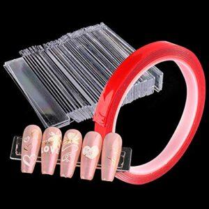Kalolary 50pcs Transparent Faux Ongles Présentoir Support Set avec ruban double face 10M, Ensemble de Support de Présentoir pour faux Ongles pour la Pratique Bande De Support D'Affichage