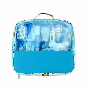 Keebgyy Kit de toilettage pour bébé nouveau-né, 18 pièces – Accessoires de soins pour bébé – Coupe-ongles de sécurité – Peigne – Brosse – Kit de soins pour bébé – Bleu