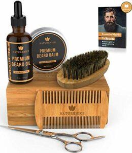 Kit de Soins de Barbe Naturenics -Huile barbe non parfumée, baume cire de barbe, peigne à barbe à double denture, Brosse à barbe, ciseaux de barbier Avec boîte-cadeau en bambou et Ebook.