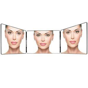 kushuang Miroir de Maquillage 3 Voies Triptyque Miroir avec Supports Réglable pour Maquillage, Peignage, Coupe, Aseo, Miroir de Douche, Miroir de Rasage, Miroir Suspendu (A)