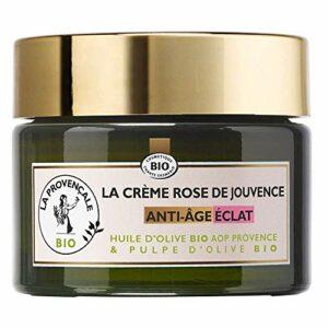 La Provençale Bio – Crème Rose de Jouvence Anti-Âge Éclat Certifié Bio – Huile d'Olive Bio AOP Provence – Pour Tous Types de Peau Même les Plus Sensibles – 50 ml