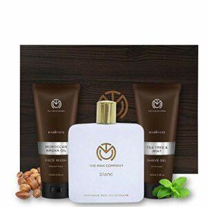 La Trousse de toilette de l'homme Company Men (Blanc Parfum EDT, Huile d'Argan marocaine Nettoyant Visage, théier et menthe Gel à raser)