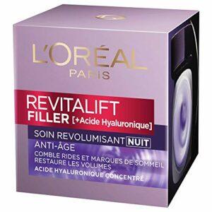 L'Oréal Paris – Revitalift – Filler – Soin Nuit Revolumisant – Anti-rides & Volume – Anti-âge – Concentré en Acide Hyaluronique – 50 mL