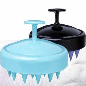 Lot de 2 brosses de massage pour cheveux et cheveux – Tête de douche – Nettoyage pour la croissance des cheveux – Soulage les pellicules – Pour homme et femme (noir + vert)
