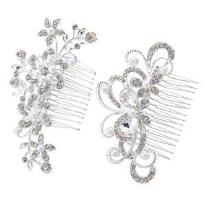 Lot de 2 peignes à cheveux pour mariée – Papillon – Perles et strass – Décoration de mariage