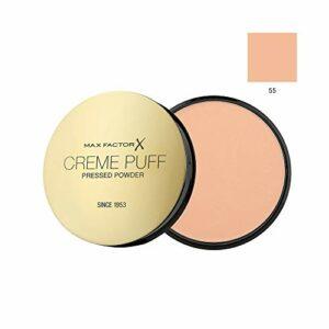 MAX FACTOR Creme Puff Visage Base Maquillage, Plus 10 Différent produits de beauté Teintes Poducts à choisir parmi – 55 Brillance Bougie, 1 Pack