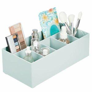 mDesign rangement cosmétiques pour lavabos ou table de maquillage – panier de salle de bain en plastique sans BPA pour maquillage – petite boîte de rangement avec 6 compartiments – vert menthe