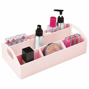 mDesign Rangement Maquillage pour la Salle de Bain – Organisateur de Maquillage en Plastique sans BPA pour Produits cosmétiques – Rangement Make up pour Vernis avec 7 Compartiments et poignées – Rose