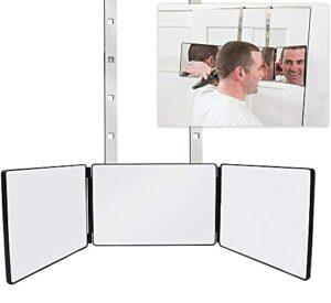 Miroir de maquillage 3 voies Triptyque Miroir avec supports Hauteur réglable pour maquillage coiffé Coupe Aseo Miroir de douche Miroir de rasage Miroir suspendu non rechargeable