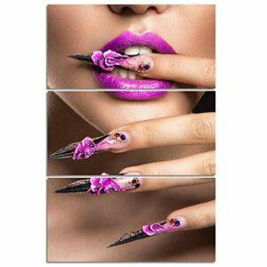 MSKJFD 3 pièces Sexy beauté Ongles Maquillage Femmes Mur Art décoration de la Maison Affiche Photo pour Salon Toile Peinture