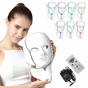NBD® 7 Couleur LED Masque luminothérapie LED Masque Photon avec Cou, Beaut du visage Soins de rajeunissement de la peau Photothérapie Traitement Masque