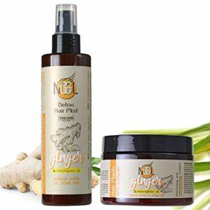 NGGL Masque pour les cheveux et brume capillaire à protection UV détoxifiants et purifiants vegan, enrichis en extrait de gingembre et huile de citronnelle, 350ml et 200ml