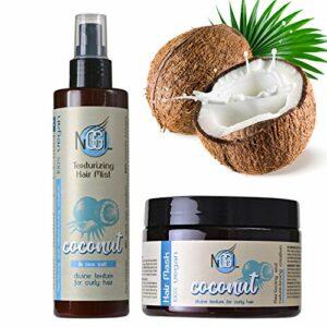 NGGL Premium Hair Spa Masque pour les cheveux et brume texturisante anti-frisottis vegan, enrichis en huile de noix de coco 100% naturelle et sel marin, 350ml et 200ml