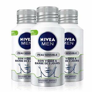 NIVEA MEN Soin Visage & Barbe de 3 Jours (3 x 125 ml), Soin apaisant anti-démangeaisons pour peaux sensibles, Soin adoucissant 0% alcool pour les barbes de 3 jours