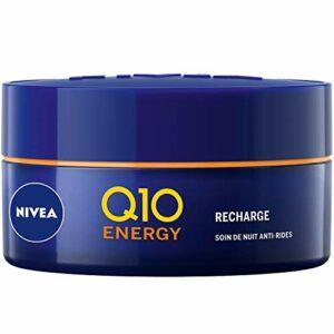 NIVEA Soin de Nuit Q10+C Energy Pot (1 x 50 ml), Crème de nuit enrichie en Q10 et Vitamines, Soin anti-âge pour une peau raffermie et visiblement plus jeune