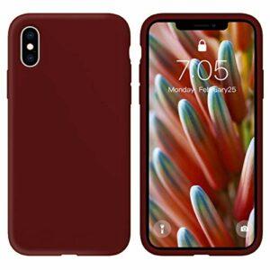 Oihxse Silicone TPU Gommage Case Compatible pour Huawei Honor 10 Coque Ultra Fine Souple Protection Housse Mignon Couleurs Bumper Étui Anti-Rayures Cover(Rouge foncé)