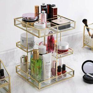 Organisateur de maquillage en verre rotatif à 360 degrés, vitrine de parfum et rangement de cosmétiques, idéal pour salle de bain, commode, comptoir (doré))