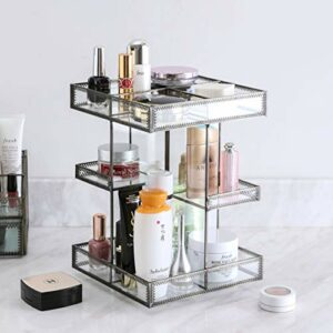 Organisateur de maquillage en verre rotatif à 360 degrés, vitrine de parfum et rangement de cosmétiques, idéal pour salle de bain, commode, comptoir (Retro)