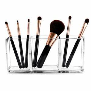 Organisateur de pinceaux de maquillage – Récipient de rangement pour salle de bain pour fard à paupières, rouge à lèvres, parfum, palette en plastique transparent, 3 emplacements
