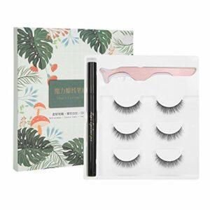 Outil de maquillage des cils Eyeliner faux cils ensemble imperméable pour la beauté pour la vie quotidienne pour un usage domestique pour les femmes(E38 green box packaging, Polar Animals)