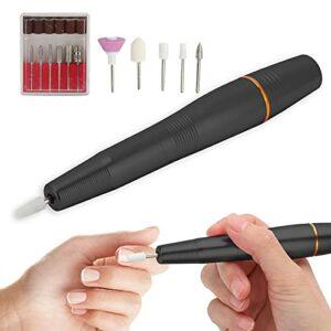 Perceuse à ongles électrique, perceuse à ongles portative USB pour les familles pour les salons pour les professionnels pour les débutants(noir, Type de tour penchée de Pise)