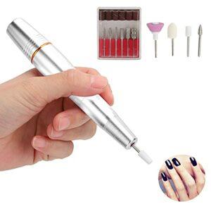 Perceuse à ongles, perceuse à ongles électrique portable Petite et légère pour les débutants pour les salons pour les professionnels pour les familles(Argent, Type de tour penchée de Pise)
