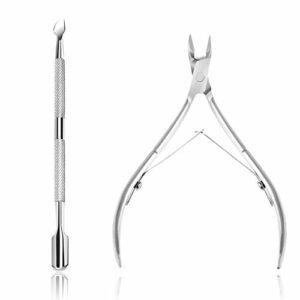 Pince à cuticules & Cuticle Pusher, Coupe-cuticules et outils pour enlever les cuticules en acier inoxydable pour ongles et ongles de pieds Outils de manucure Pédicure